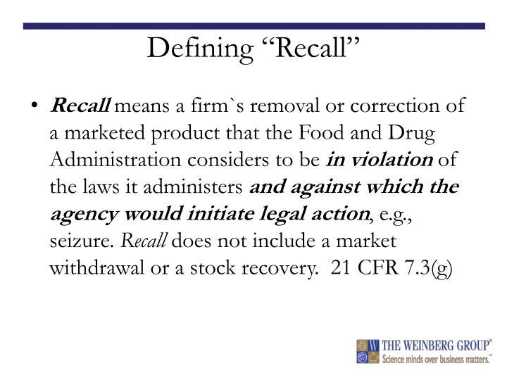 "Defining ""Recall"""