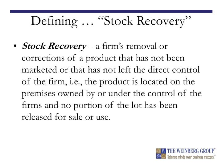 "Defining … ""Stock Recovery"""