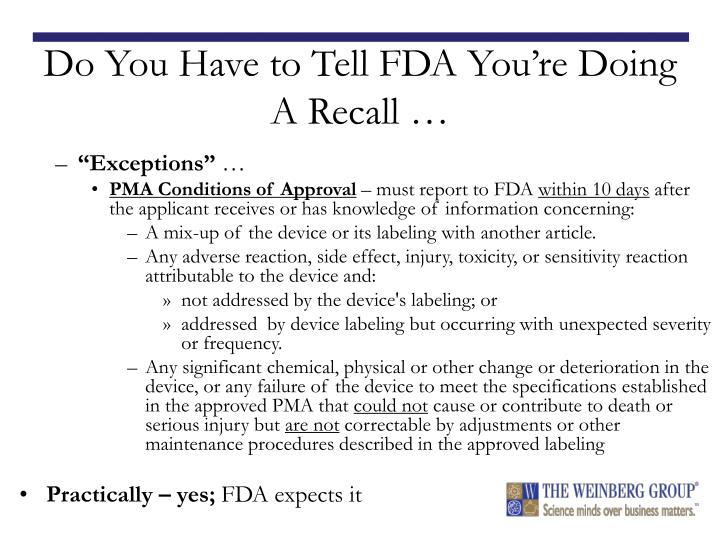 Do You Have to Tell FDA You're Doing A Recall …