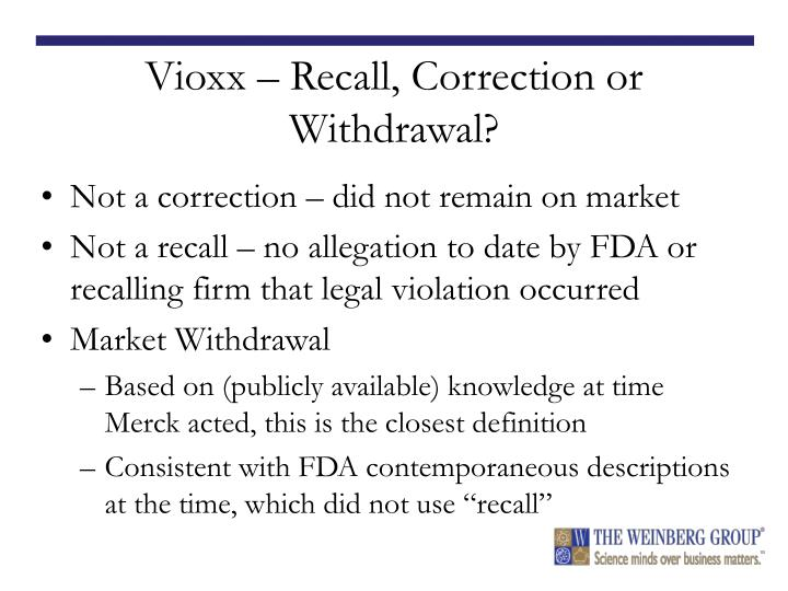 Vioxx – Recall, Correction or Withdrawal?