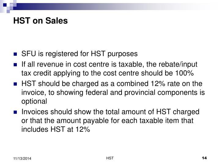 HST on Sales