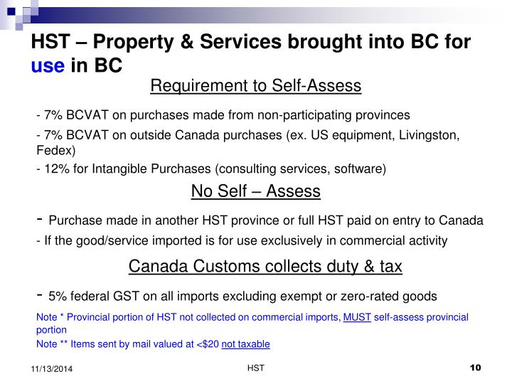 HST – Property & Services brought into BC for