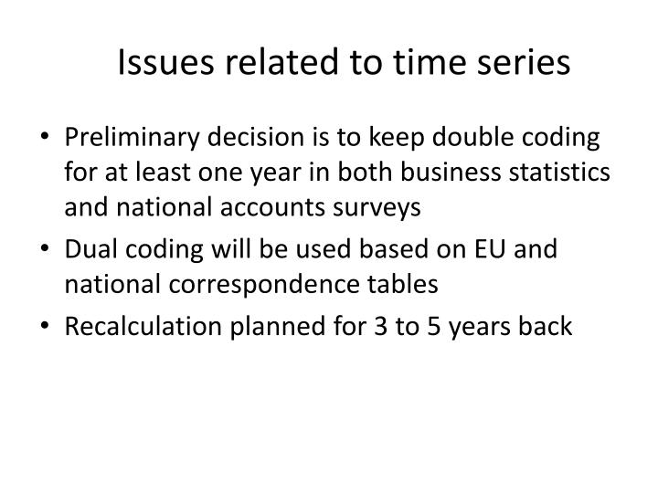 Issues related to time series