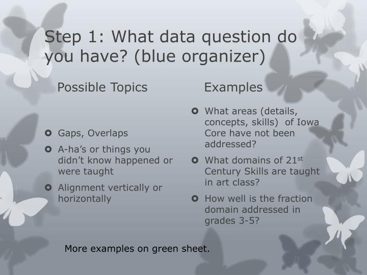 Step 1: What data question do you have? (blue organizer)