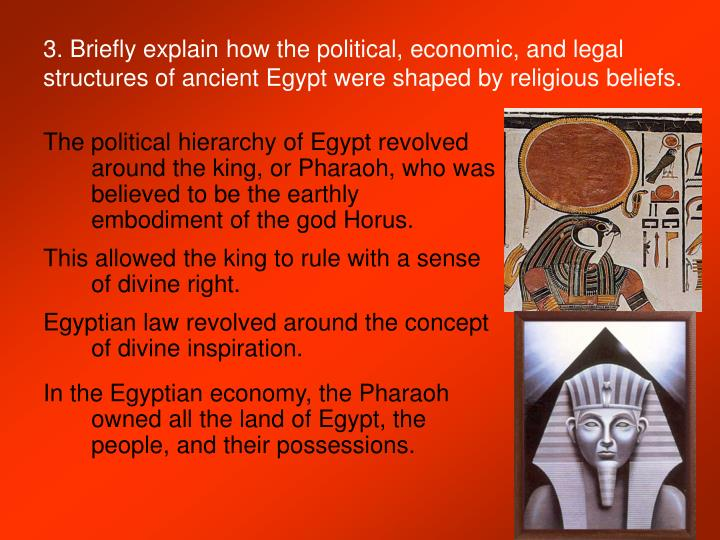 3. Briefly explain how the political, economic, and legal structures of ancient Egypt were shaped by religious beliefs.