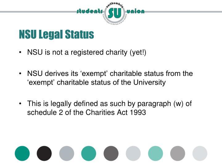 NSU Legal Status