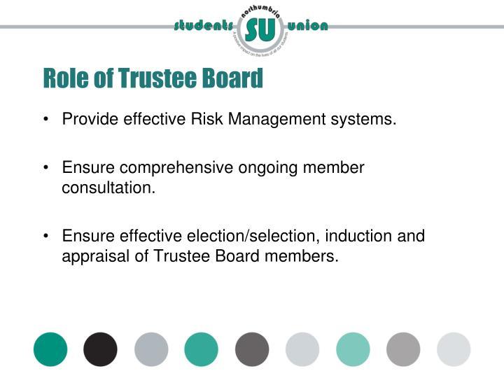 Role of Trustee Board