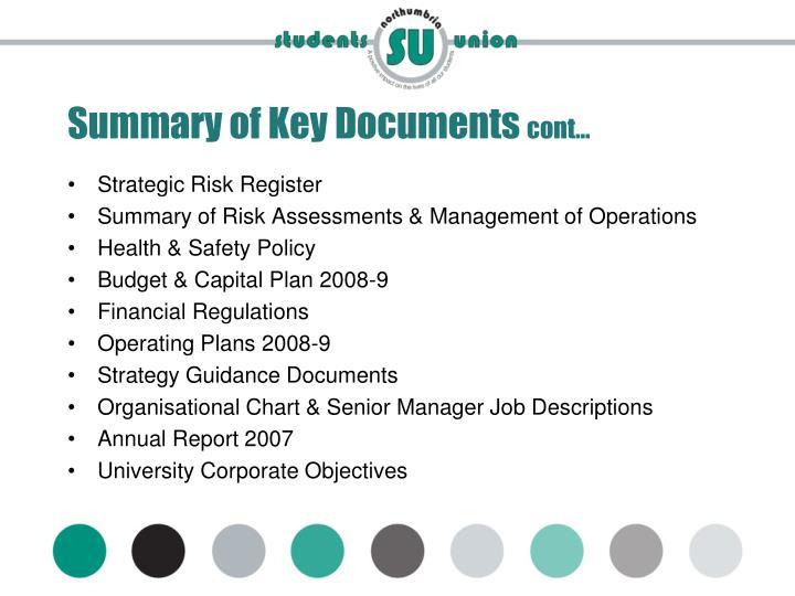 Summary of Key Documents