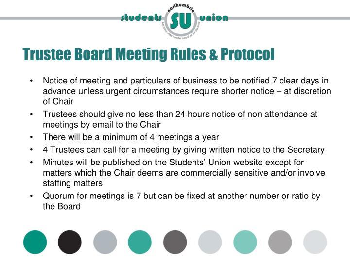 Trustee Board Meeting Rules & Protocol