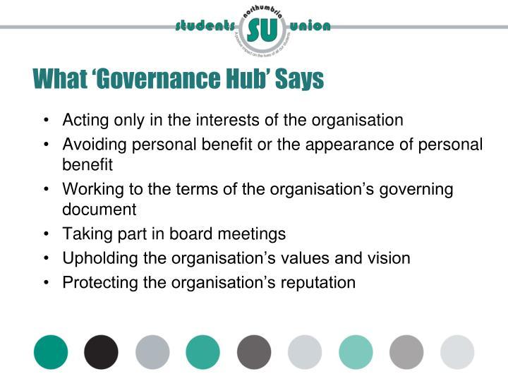 What 'Governance Hub' Says