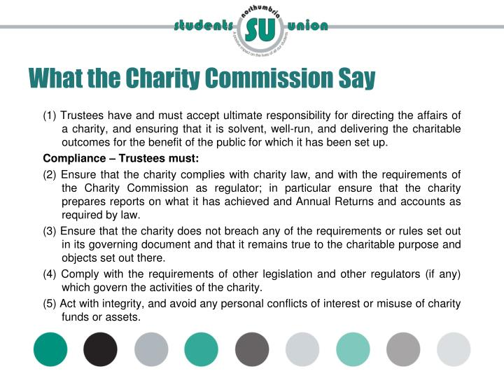 What the Charity Commission Say
