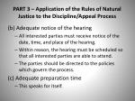 part 3 application of the rules of natural justice to the discipline appeal process1