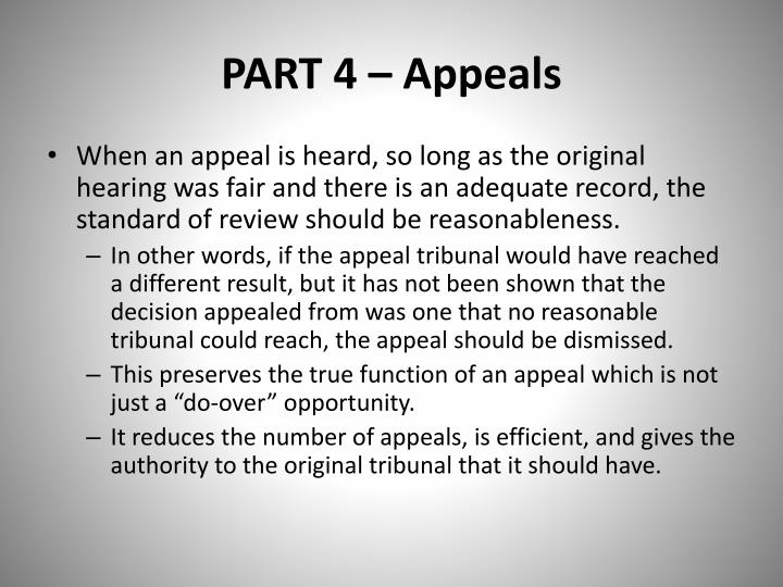 PART 4 – Appeals