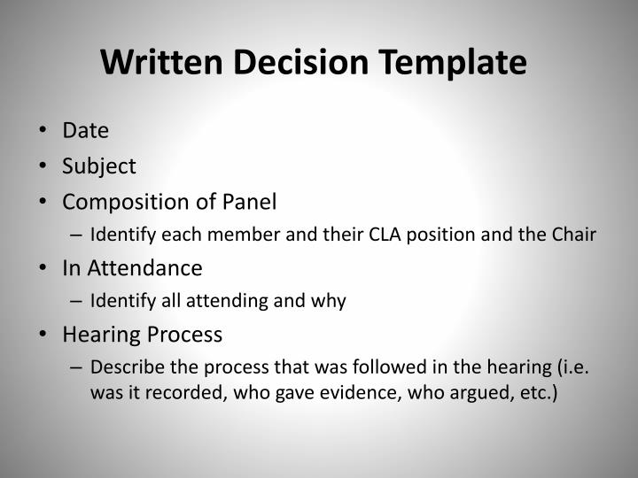 Written Decision Template
