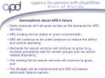 assumptions about apd s future