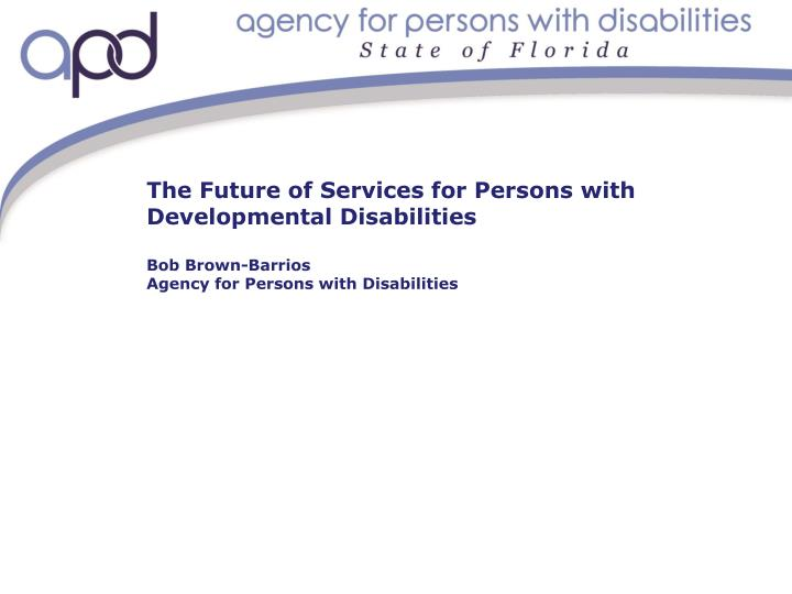 The Future of Services for Persons with Developmental Disabilities