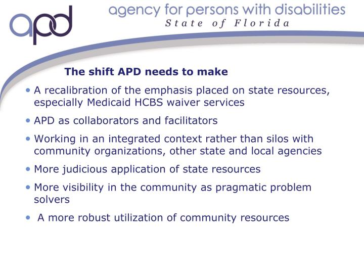 The shift APD needs to make