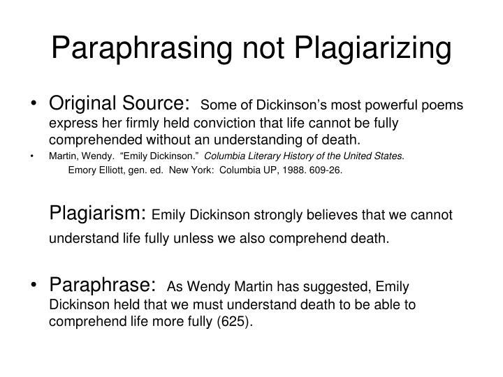 Paraphrasing not Plagiarizing