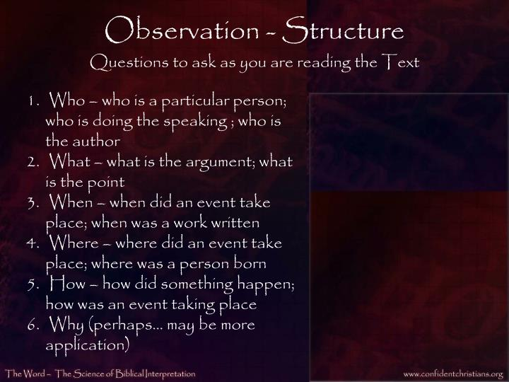 Observation - Structure