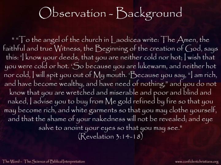 Observation - Background