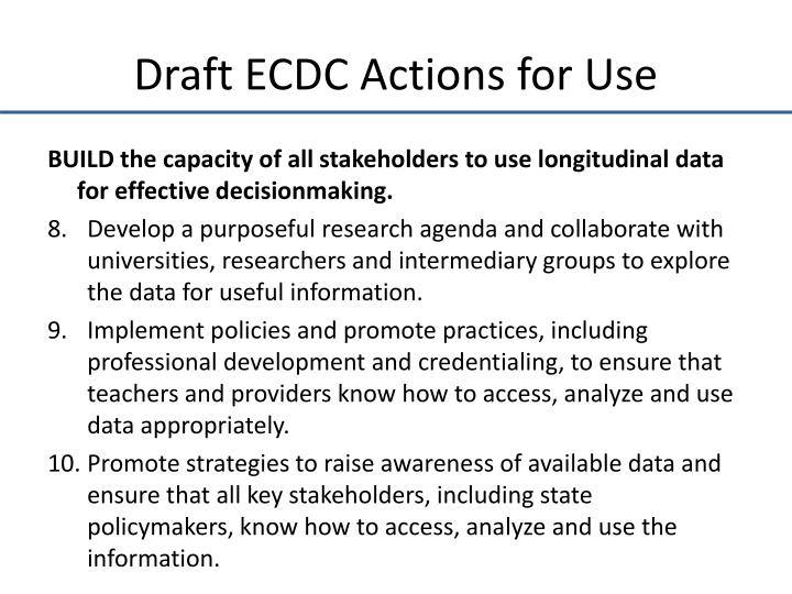 Draft ECDC Actions for Use