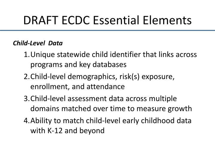 DRAFT ECDC Essential Elements