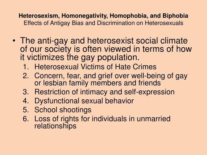 Heterosexism, Homonegativity, Homophobia, and Biphobia