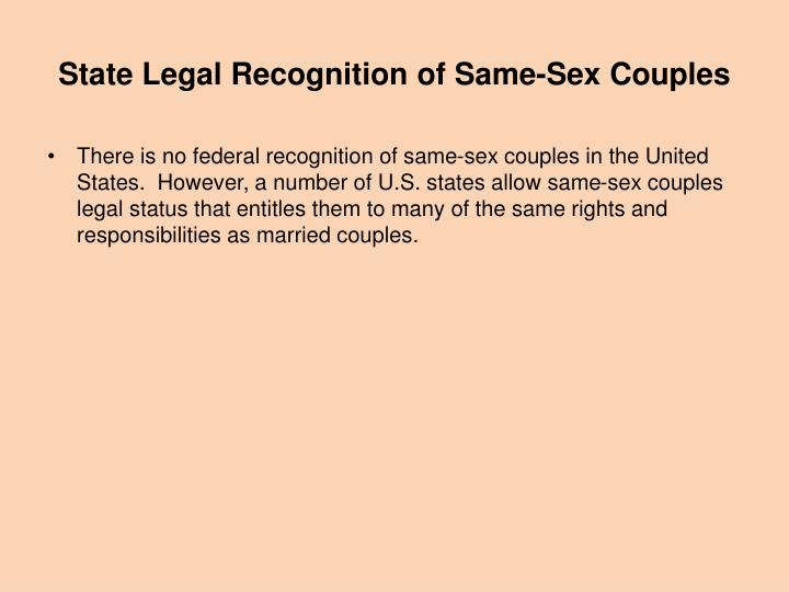 State Legal Recognition of Same-Sex Couples