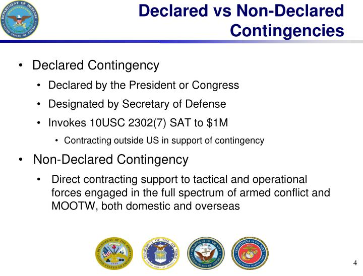 Declared vs Non-Declared Contingencies