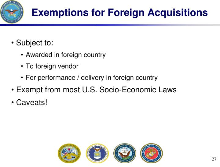 Exemptions for Foreign Acquisitions