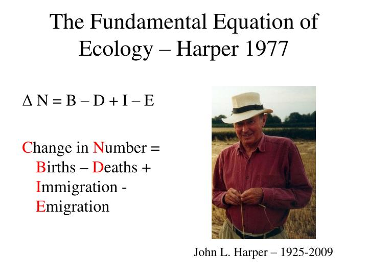 The Fundamental Equation of Ecology – Harper 1977
