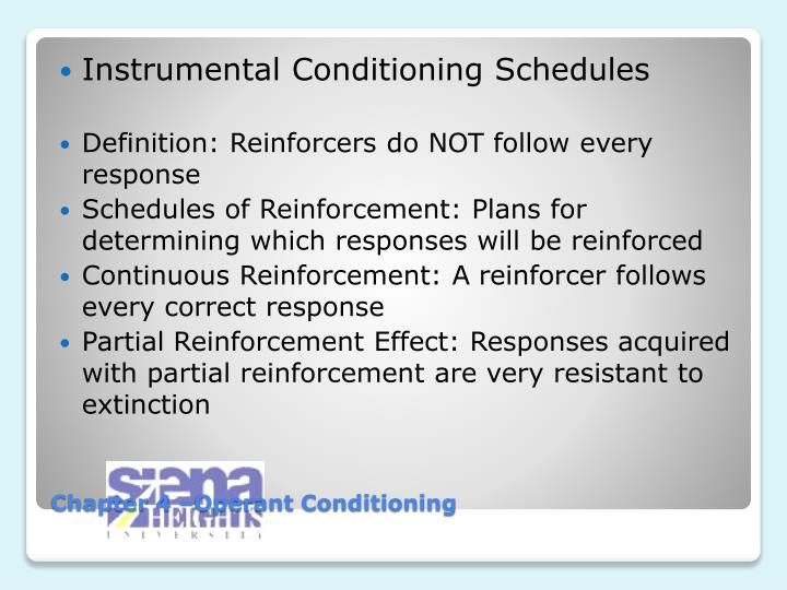 Instrumental Conditioning Schedules