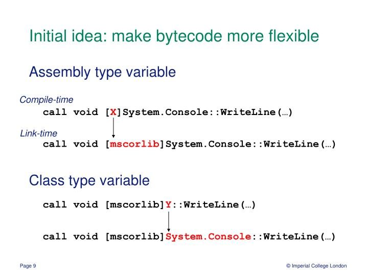 Initial idea: make bytecode more flexible