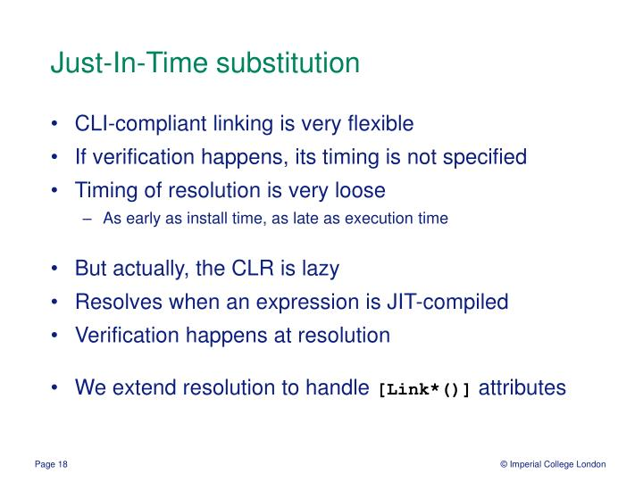 Just-In-Time substitution
