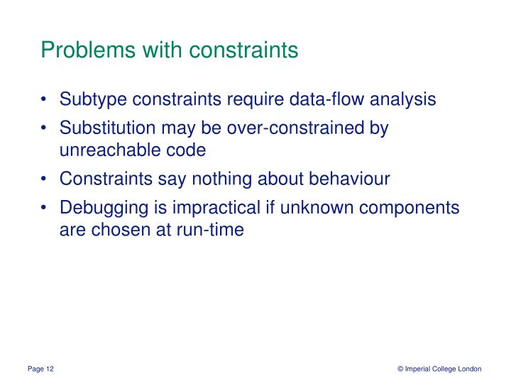Problems with constraints