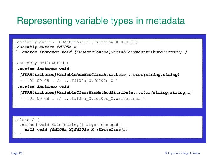 Representing variable types in metadata