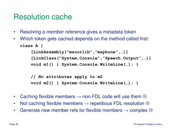 Resolution cache