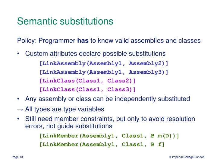 Semantic substitutions