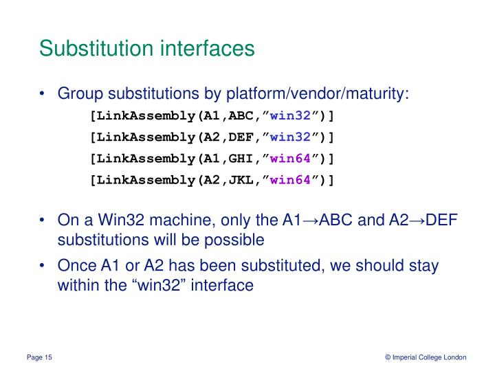 Substitution interfaces