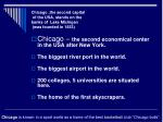 chicago the second capital of the usa stands on the banks of lake michigan was founded in 1833