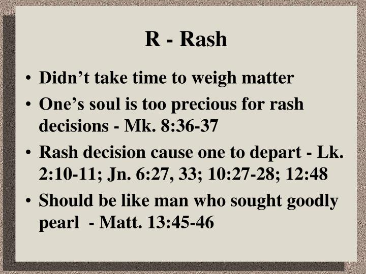 R - Rash