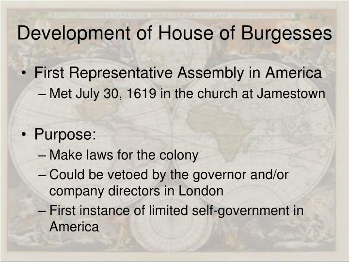 Development of House of Burgesses