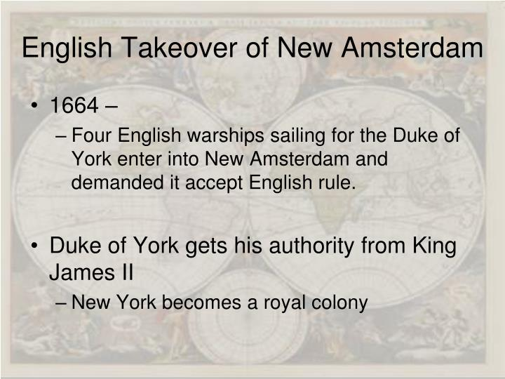 English Takeover of New Amsterdam