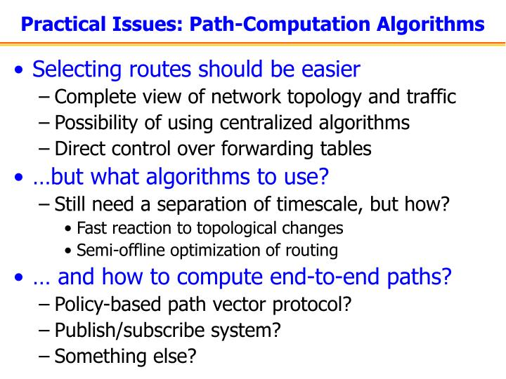 Practical Issues: Path-Computation Algorithms