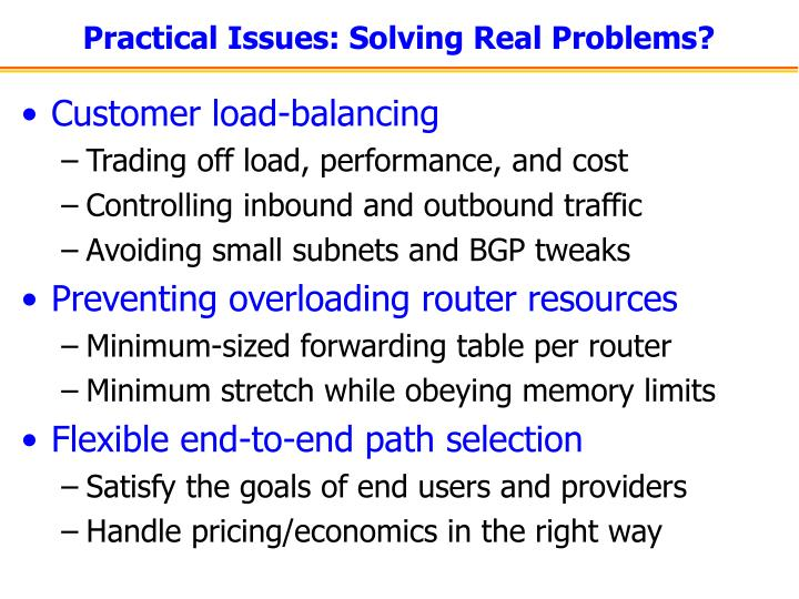 Practical Issues: Solving Real Problems?
