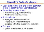 proposal 1 routing as a service