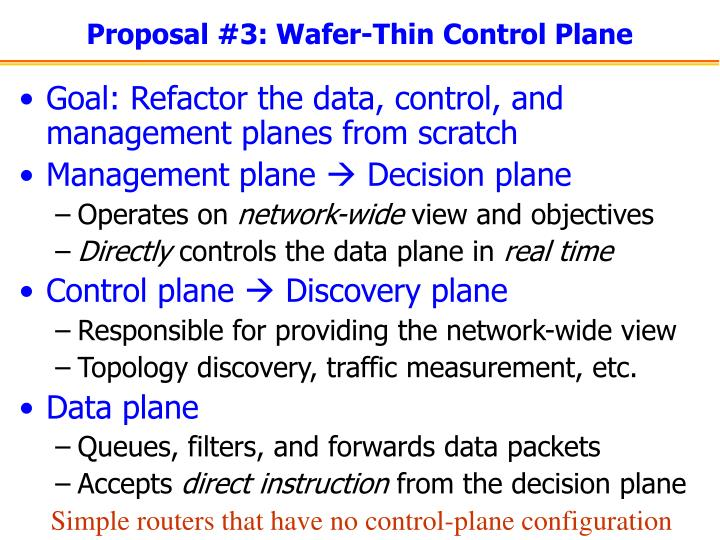 Proposal #3: Wafer-Thin Control Plane