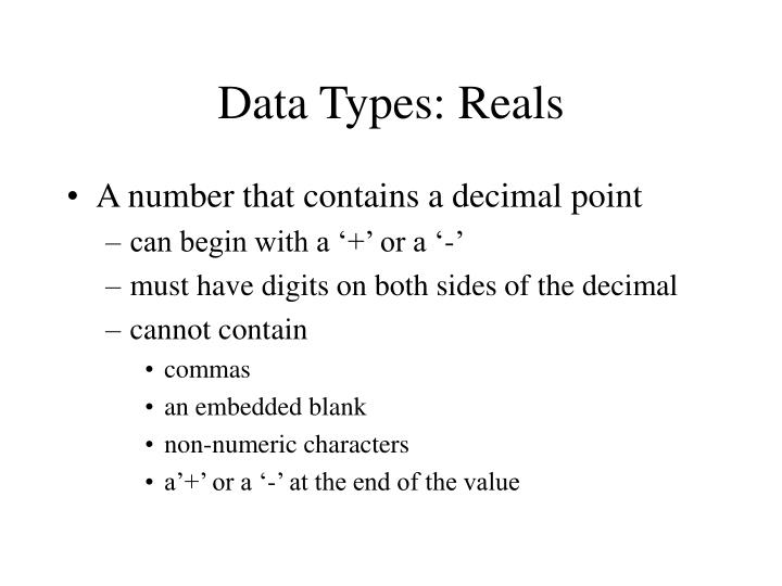 Data types reals