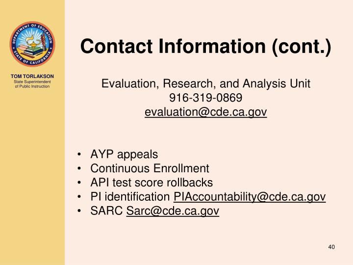 Contact Information (cont.)