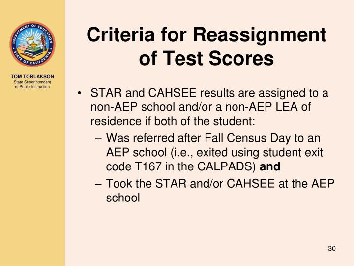 Criteria for Reassignment of Test Scores